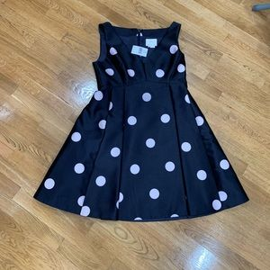 Kate Spade large polka dot navy cocktail dress